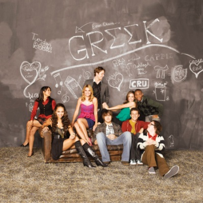 "GR··K - Dilshad Vadsaria as ""Rebecca,"" Amber Stevens as ""Ashleigh,"" Spencer Grammer as ""Casey,"" Jake McDorman as ""Evan,"" Scott Michael Foster as ""Cappie,"" Tiffany Dupont as ""Frannie,"" Jacob Zachar as ""Rusty,"" Paul James as ""Calvin"" and Clark Duke as ""Dale"" star on ""GR··K"" on ABC Family. (ABC FAMILY/BOB D'AMICO)"