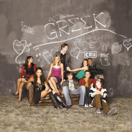 "GR··K - Dilshad Vadsaria as ""Rebecca,"" Amber Stevens as ""Ashleigh,"" Spencer Grammer as ""Casey,"" Jake McDorman as ""Evan,"" Scott Michael Foster as ""Cappie,"" Tiffany Dupont as ""Frannie,"" Jacob Zachar as ""Rusty,"" Paul James as ""Calvin"" and Clark Duke as ""Dale"" star on ""GR··K"" on ABC Family. (ABC FAMILY/BOB D'AMICO)"